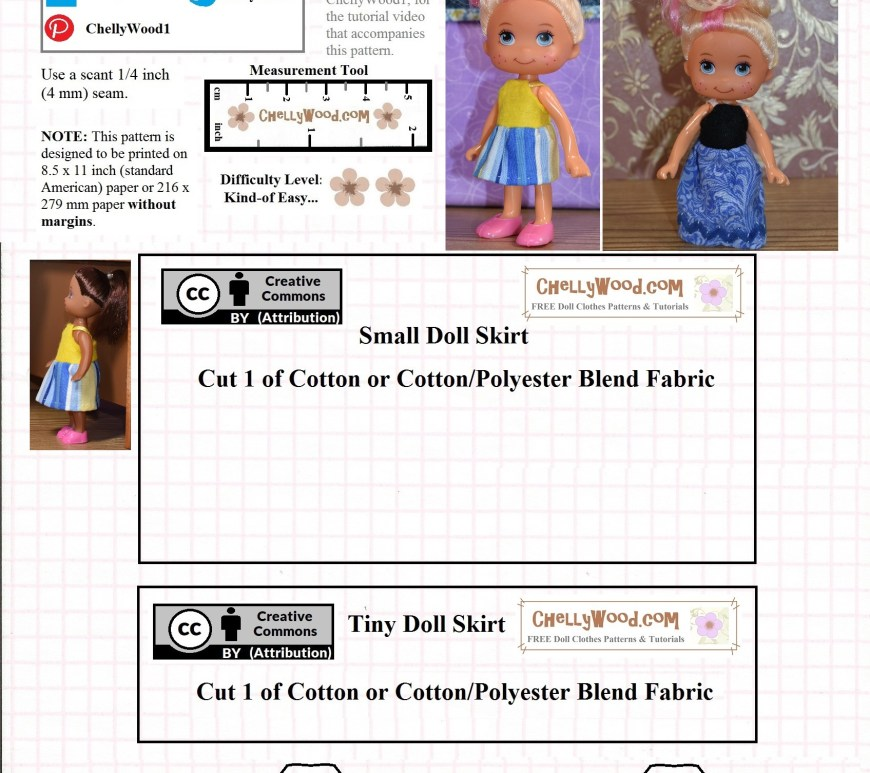 Chelly Wood's website (her name followed by dot com) offers a free printable PDF sewing pattern of this small doll clothes pattern. The pattern is designed to fit dolls with 4-inch or 5-inch bodies and should fit a number of dolls in between those sizes. The pattern includes a long dress and a short dress,both of which use a felt bodice with a cotton skirt.