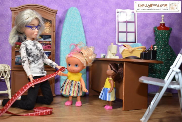 The image shows the Chelly Wood character doll in her sewing room. She's kneeling down, looking at a tape measure. Beside her are two different Greenbrier dolls. One looks like a Strawberry Shortcake knockoff and the other looks like a Kelly doll knockoff. The two dolls appear to be waiting their turns for sewing measurements.