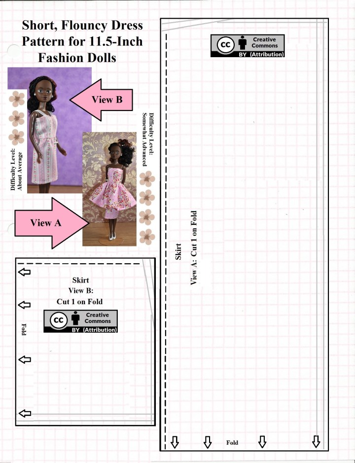 This is the skirt pattern for making two different styles of Valentine's Day dresses for 11 inch or 11.5 inch (28 to 29 cm) fashion dolls. One style of dress offers a pencil skirt with a flouncy skirt over the top. The other is a simple dress with short skirt. The short skirt dress is labeled with three flowers on the difficulty scale for ChellyWood.com and the flouncy skirt is labeled with four flowers on the difficulty scale. All patterns are marked with the Creative Commons Attribution mark. The PDF version of this pattern can be downloaded and printed at ChellyWood.com