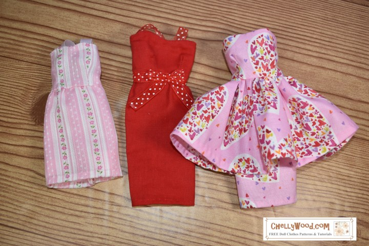 Please click on the hyperlink found in the caption to access free printable sewing patterns for these Valentine's Day dresses for fashion dolls.