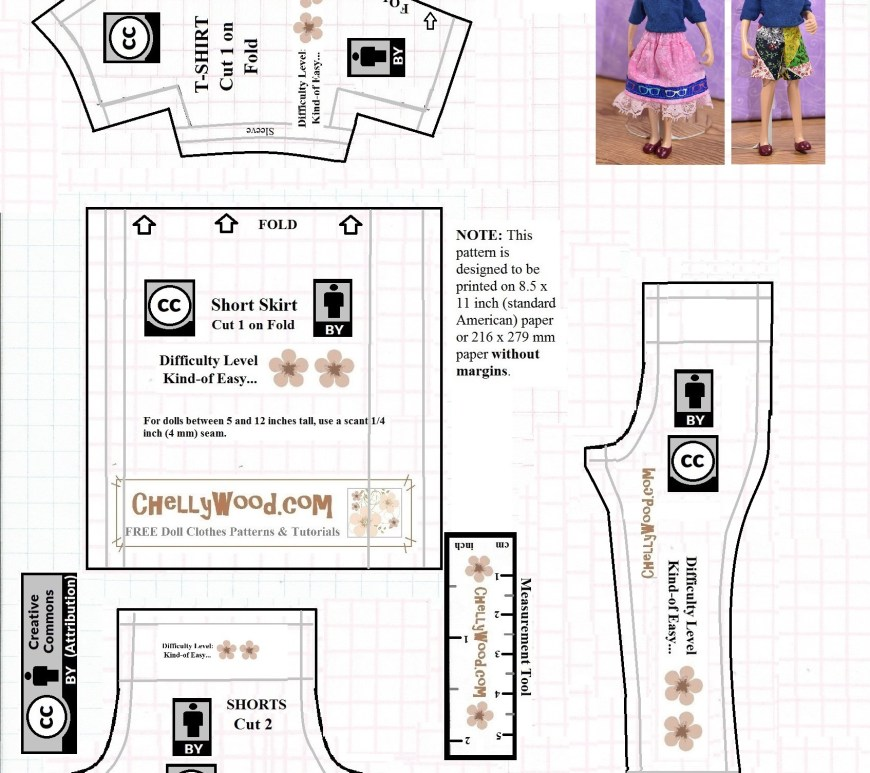 "The image shows the visual of a JPG format pattern for 6"" dolls like Breyer classic rider dolls. This pattern includes a pair of jeans or pants, a T-shirt, a pair of shorts, and a skirt. The page on ChellyWood.com where you find this visual version of the pattern also offers a free printable PDF sewing pattern for making this wardrobe to fit 6-inch dolls and miniature dollhouse dolls in the 6"" size range."