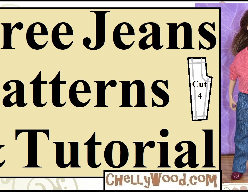 "Visit ChellyWood.com for free printable PDF sewing patterns for making doll clothes to fit dolls of many shapes and all different sizes. The image shows a 6 inch Breyer Classic Rider doll wearing handmade jeans and a handmade T-shirt. The overlay says ""free jeans patterns and tutorial"" and offers the URL where you can download your own free printable PDF of doll clothes to fit the 6 inch Breyer dolls: ChellyWood.com"