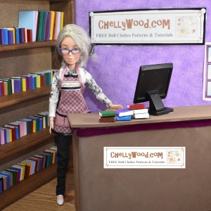 This image shows Chelly Wood the librarian at her circulation desk. She looks very teacher-ish in her apron with a wall of books shelved behind her. Above her head and on the circulation desk, it says her website's URL: ChellyWood.com