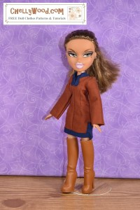 This image of a Bratz doll demonstrates that the typical Bratz doll can wear the tunic pattern that's free and printable in the form of a PDF sewing pattern at ChellyWood.com