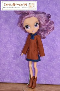 This image of a Spin Master La Dee Da doll demonstrates that the typical Spin Master La Dee Da doll can wear the tunic pattern that's free and printable in the form of a PDF sewing pattern at ChellyWood.com