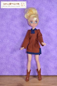 This image of a Disney Tinkerbell fairy doll demonstrates that the typical Tinkerbell fairy fashion doll can wear the tunic pattern that's free and printable in the form of a PDF sewing pattern at ChellyWood.com