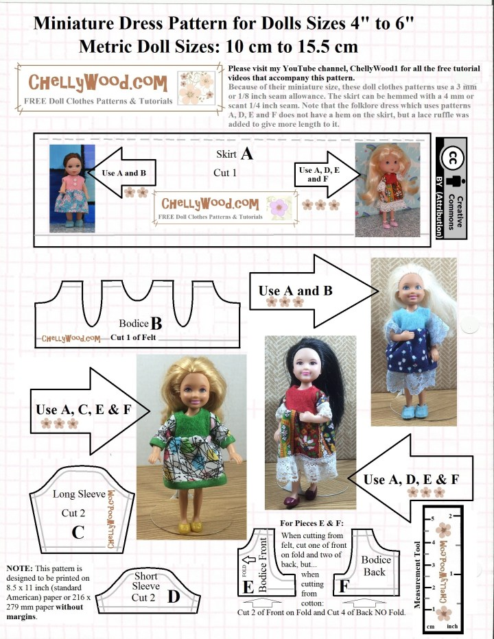 Visit ChellyWood.com for free printable sewing patterns that will fit dolls of many shapes and all different sizes. This image shows the pattern for several differerent styles of doll dresses designed to fit 4-inch, 5-inch, or 6-inch miniature dolls and dollhouse dolls. To access this free printable PDF pattern, go to ChellyWood.com