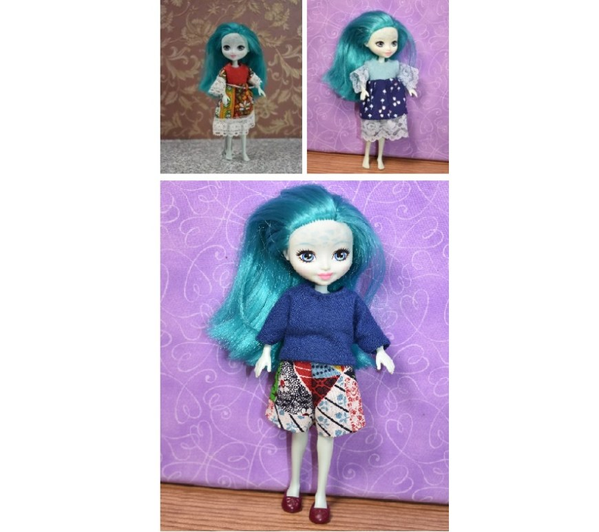 The image shows Enchantimals dolls in handmade doll clothes: two different dresses, a pair of shorts, and a T-shirt. This is the screenshot of a gallery of free PDF sewing patterns for making miniature doll clothes to fit 6 inch dolls like the Enchantimals dolls.