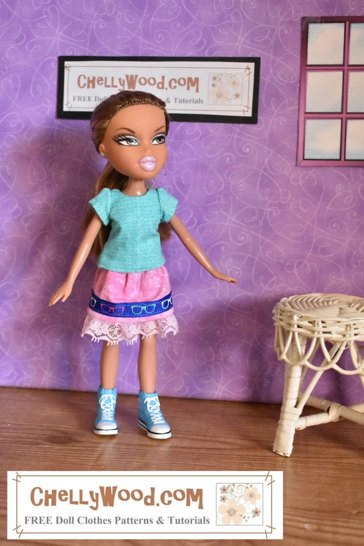 The image shows a Bratz 8-inch doll wearing a handmade skirt with a handmade short-sleeved shirt. Click on the link in the caption, and it will take you to a page where you can download and print all the free printable sewing patterns for making these doll clothes, along with links to tutorial videos that show you how to make this outfit.