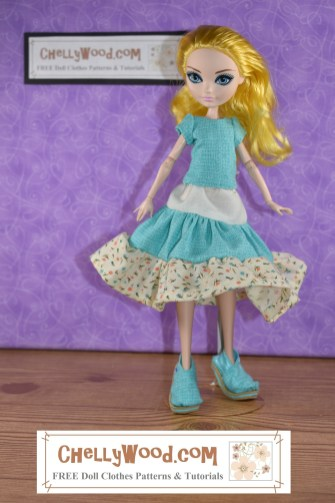 Here we see an Ever After High doll with bright yellow hair. She models a hand-made outfit which includes shoes, a 3-tier skirt, and a matching short-sleeve shirt. Her pose (with head tilted forward and hands thrown behind her a bit) implies some coyness. Click on the link in the caption, and it will take you to a page where you can download and print all the free printable sewing patterns for making these doll clothes, along with links to tutorial videos that show you how to make this outfit.