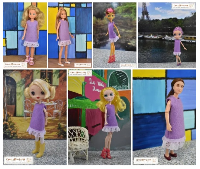 The image shows seven different dolls wearing the same purple felt dress with eyelet lace trim. To see the full list of all the dolls that can fit in this week's free printable PDF sewing pattern for making this doll's dress, go to ChellyWood.com