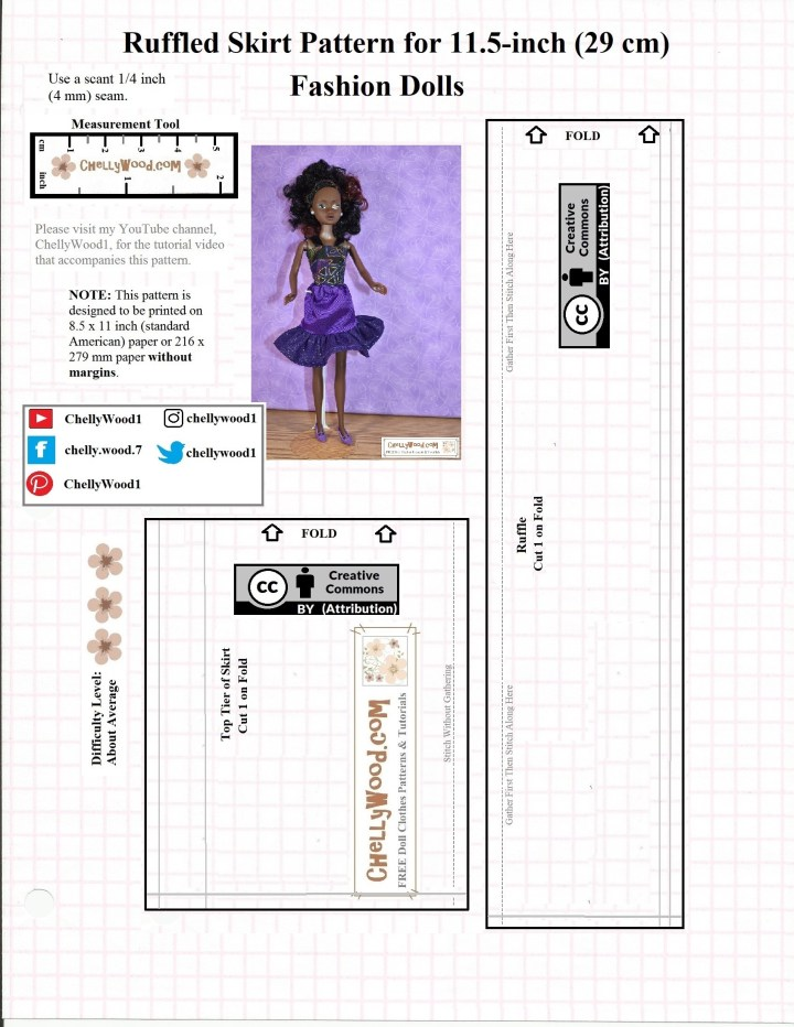 This JPG image is a free PDF sewing pattern for an elastic-waist skirt with a ruffle that will fit 11 inch dolls like Barbie, Momoko dolls, Francie, spin master Liv dolls, and Queens of Africa dolls. You can easily download and print the PDF version of this free doll clothes pattern at ChellyWood.com
