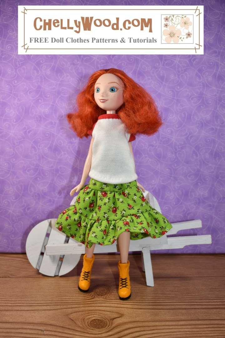 This image shows a Disney Princess Merida doll wearing handmade doll clothes including a raglan-sleeve Tee shirt and a 3-tier layered ruffle skirt. She poses gracefully in front of a wheelbarrow, and she wears bright yellow boots as if she's about to go work in her doll garden. Visit ChellyWood.com to find the free printable PDF sewing patterns for making these doll clothes.