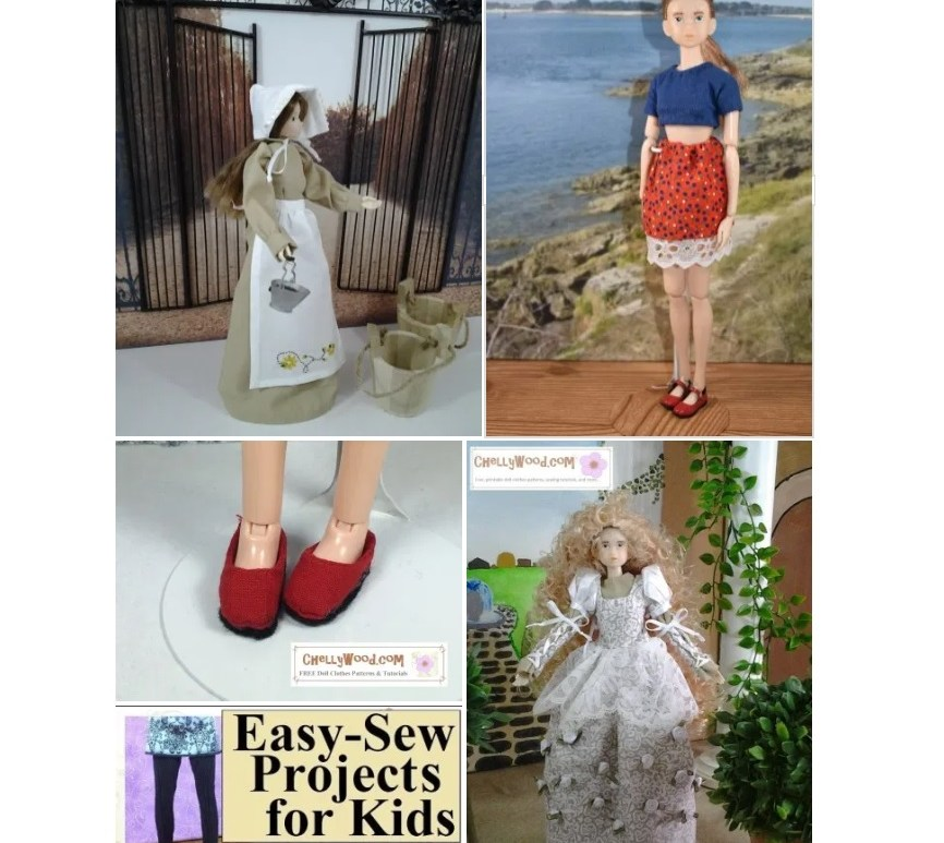 The image shows a screenshot of the Gallery page, where you can find free printable sewing patterns for making doll clothes to fit Momoko dolls. This screenshot includes a peasant dress with bonnet and apron, a pair of handmade slip on shoes, a pair of tights, a wedding dress, and a modern crop top with mini skirt. If you would like to view and print the free doll clothes patterns and watch the sewing tutorials for these doll clothes and more, please go to ChellyWood.com and look in the gallery under 10 inch dolls.
