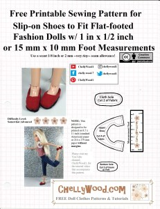 """The image shows a Spin Master Liv doll wearing handmade slip-on shoes. There are three pieces to this pattern: a cloth sole, a foam sole, and the upper section. To find and download this free printable sewing pattern which fits dolls with a 1 inch by half inch or 15 milometer by 10 millimetre foot, please go to ChellyWood.com and click on the 11 inch doll pattern gallery or the """"shoe patterns"""" gallery."""