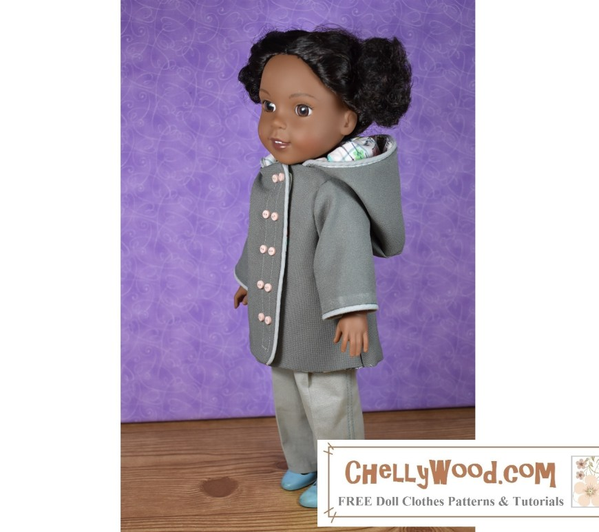 The image shows the Wellie Wisher Kendall doll wearing a raincoat. If you'd like to make this raincoat, please go to ChellyWood.com for your Hooded raincoat for Wellie Wishers tutorial video plus free printable PDF sewing patterns for making this coat.