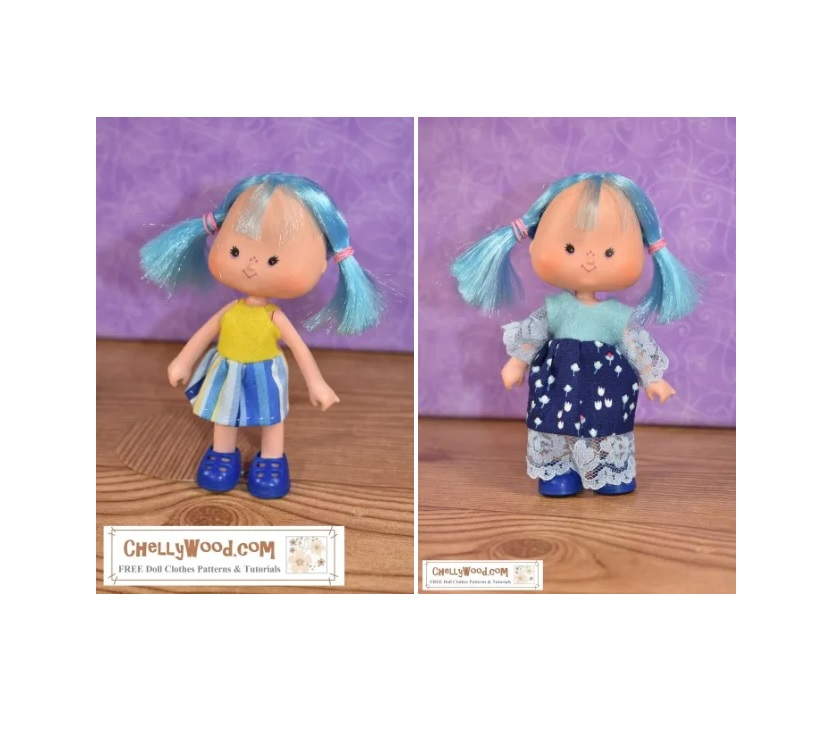 "The image shows the ""Strawberry Shortcake"" blueberry muffin doll wearing two different dresses. You can download the free printable sewing pattern for making these vintage Strawberry Shortcake doll clothes at ChellyWood.com, a website dedicated to free printable sewing patterns for making doll clothes to fit dolls of many shapes and all different sizes."