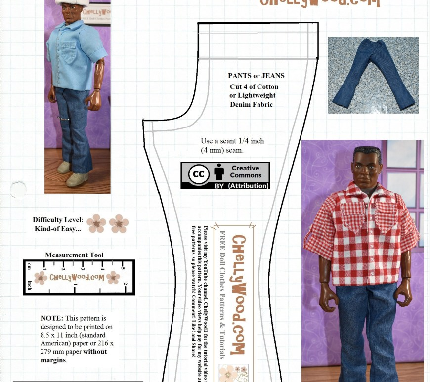 The image shows a pattern for a pair of sailor pants or jeans with a bell bottom, like cowboys wear for the boot-cut look, or like sailors wore in the 1960's. This pattern is designed to fit GI Joe action figures and similar sized dolls or action figures with a 5 and a half inch or 14 cm inseam. Visit ChellyWood.com for the free printable PDF pattern download and the easy-to-follow free tutorial video showing how to make these clothes and other clothes to fit your GI Joe action figure or similar sized dolls.