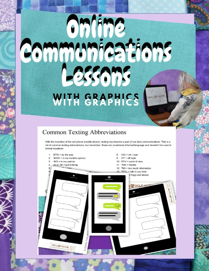 The image shows the preview of an online communications lessons with graphics which can be purchased for teaching school at Chelly Wood's Teachers Pay Teachers Store. Here's the link to the store: https://www.teacherspayteachers.com/Store/Chelly-Wood The preview shows images of cell phone clipart, iPad clipart, and a lesson on abbreviations.