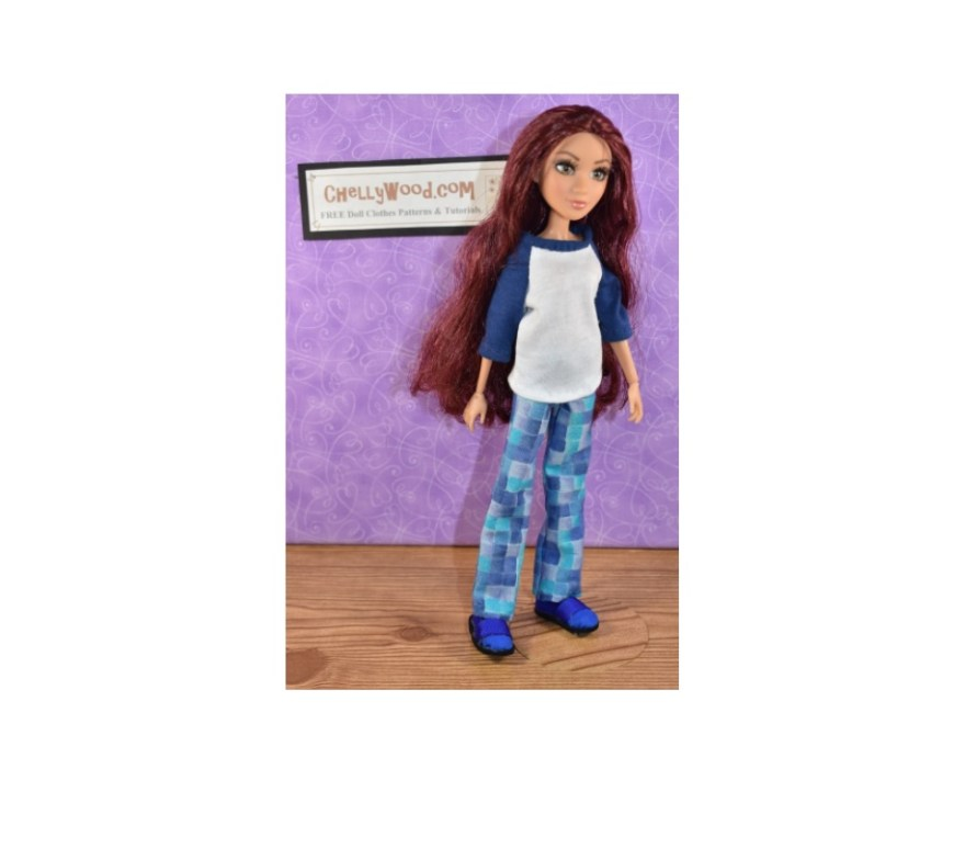 The image shows a Project MC2 doll wearing handmade shirt and pants. Please go to ChellyWood.com to find the free printable sewing patterns for making this and other similar doll clothes for your Project MC2 dolls.