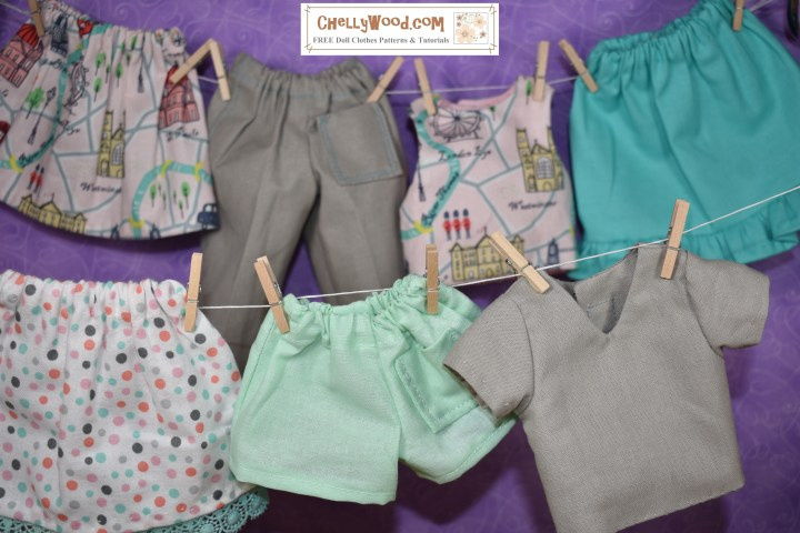 The image shows a laundry line of doll clothes that fit 14 inch, 15 inch, 16 inch, or 17 inch dolls like Wellie Wishers, Hearts for Hearts girls, vintage Velvet dolls, or Best Friends Club BFC Ink dolls. There are free printable sewing patterns for making all of these doll clothes at ChellyWood.com
