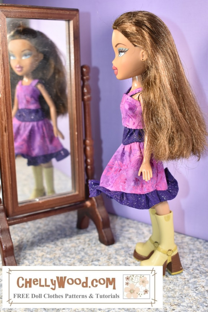 Here we see an 8-inch (20 cm) Bratz doll wearing a pink handmade tank top with a pink and purple 3-tier skirt with a ruffle. The doll stands in front of a mirror, and in the mirror, we see the doll's blurred reflection, as though she's looking at her reflection in that mirror.