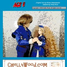 Here we see a Ken doll dressed as Romeo and a Momoko doll dressed as Juliet. The two hold hands. The image reminds us of an old-fashioned comic book, with a watercolor look that has been outlined in pen.