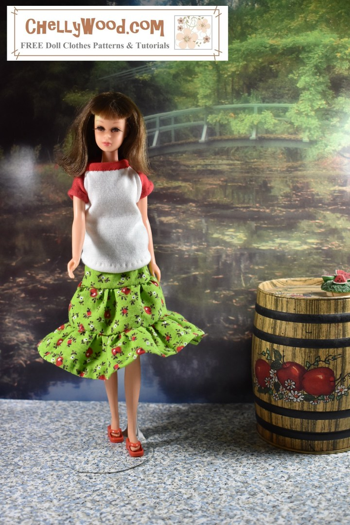 This photo shows a vintage Francie doll wearing a handmade T-shirt and handmade three-tier skirt. She stands in a fall diorama with a garden in the background and an apple barrel in the foreground. The watermark reminds us to visit ChellyWood.com for free printable sewing patterns for making doll clothes to fit dolls of many shapes and sizes, including vintage Francie dolls from the Mattel Barbie collection of dolls (and similar sized dolls).