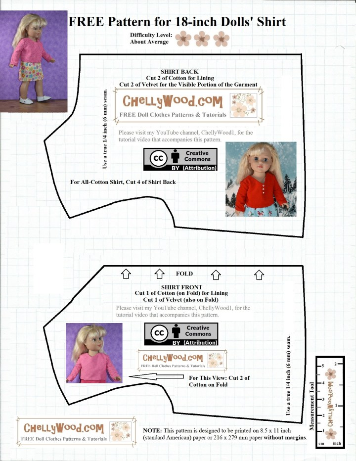 "The image shows the bodice pattern for a V-neck shirt that will fit most 18 inch dolls like the Adora Amazing Girls dolls, the Our Generation Journey Girls, the ""My Life As"" Dolls, 18-inch Dolls from American Girl doll company, City Girls from the New York Doll Collection, Madame Alexander 45 to 46 cm dolls and many other dolls of a similar size and shape. This particular pattern is used in association with a long-sleeve shirt for 18 inch dolls and an eyelet-ruffle sleeve shirt for 18 inch dolls, along with a few other patterns. The pattern is available as a free printable PDF sewing pattern that's downloadable for free at ChellyWood.com, and it carries the ""creative commons attribution"" mark, which means you're free to post this image elsewhere on the internet, and you're free to use the pattern to create new products; however you must also acknowledge where this pattern came from. In fact, it helps this webiste grow if you spread the word that this website exists, with all of its versatile free printable sewing patterns for making doll clothes to fit dolls of many shapes and all different sizes."