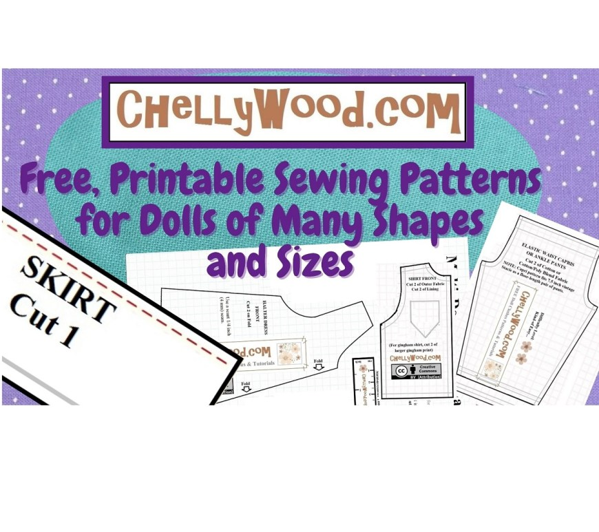 The image shows purple polka dot fabric with patterns laying scattered across the dotted fabric. The top of the image offers the website's URL: ChellyWood.com and the following statement: free, printable sewing patterns for dolls of many shapes and sizes. This is a video header for ChellyWood1, Chelly Wood's YouTube channel.