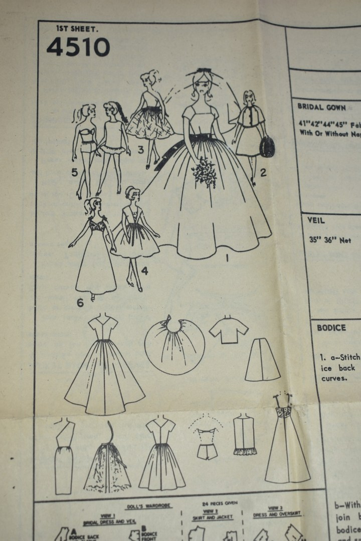 "This is an open ""page"" from the instruction sheet for Simplicity doll clothes pattern number 4510, and it includes images of dolls modeling the whole wardrobe, plus a line drawing of each clothing item you can make using this pattern."