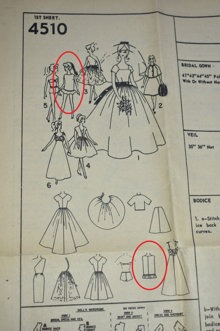 Here we see each of the doll clothing items found in Simplicity doll clothes sewing pattern #4510 from the early 1960's. This vintage pattern includes a wedding dress with a train and veil, a half-sleeve jacket, a business skirt, and off-the-shoulder evening gown with short pencil skirt, an overskirt pattern which ties in the back, a day dress, a pair of underpants and bra (or 1950's style bikini), a super short swimsuit coverup with ruffle, and an evening gown with straps and lace bodice. The eye is drawn toward two doll clothing pieces: a hand drawing of a Barbie doll wearing the swimsuit coverup with ruffle and the item line drawing of the same garment.