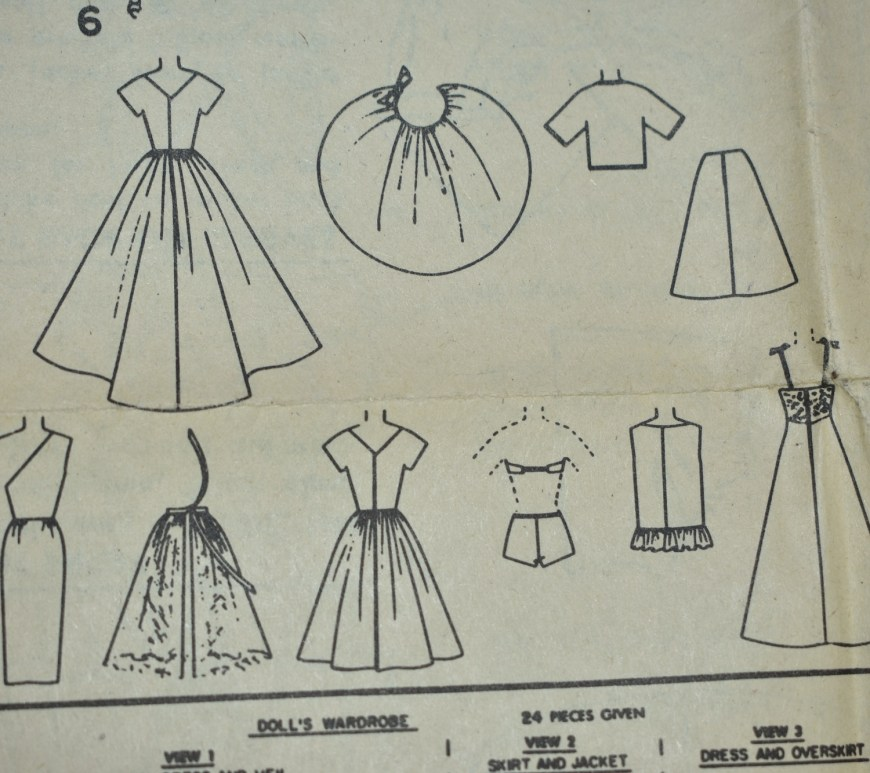 Here we see each of the doll clothing items found in Simplicity doll clothes sewing pattern #4510 from the early 1960's. This vintage pattern includes a wedding dress with a train and veil, a half-sleeve jacket, a business skirt, and off-the-shoulder evening gown with short pencil skirt, an overskirt pattern which ties in the back, a day dress, a pair of underpants and bra (or 1950's style bikini), a super short swimsuit coverup with ruffle, and an evening gown with straps and lace bodice.