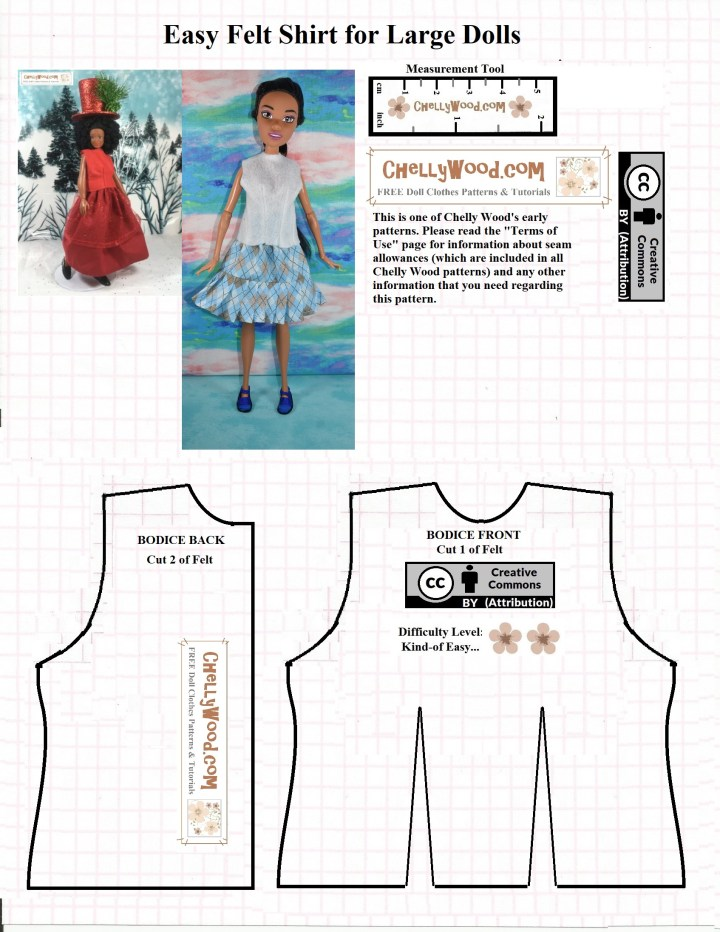"This is a black line image of a very basic doll's shirt without sleeves. It does have cuts for darts in the front piece. The title reads, ""Easy Felt Shirt for Large Dolls"" and it shows a photo of a Lammily doll wearing the shirt made of red felt and an Endless Hair Princess 17 inch Barbie wearing the white felt version of this shirt. To download and print this free PDF sewing pattern, go to ChellyWood.com"