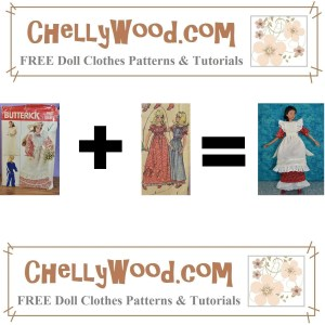 """This is the featured image for an article on mixing and matching doll clothes patterns. It shows Butterick Craft pattern 4687 followed by a plus sign, followed by a close-up image of two doll clothes items from McCall's Craft Pattern 83428, followed by an """"equals"""" sign, followed by a completed doll dress and pinafore. The dress pattern came from McCall's craft pattern 83428 while the pinafore pattern came from Butterick pattern #4687. This outfit was made by Chelly Wood, the doll clothing designer. She combined the McCall's pattern (which was incomplete) with the Butterick pattern to create the handmade dress and pinafore we see in this featured image. The website where Chelly Wood posts her sewing adventures in making doll clothes like this is watermarked on this """"formula"""" image: ChellyWood.com so please visit ChellyWood.com for free printable sewing patterns and tutorial videos for making doll clothes to fit dolls of many shapes and all different sizes."""