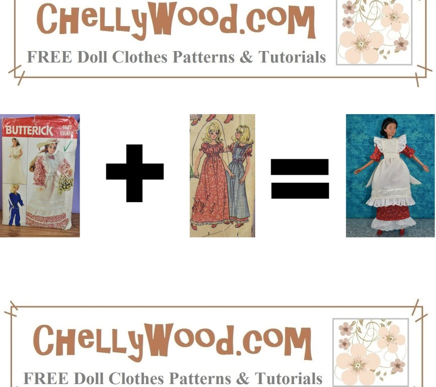 "This is the featured image for an article on mixing and matching doll clothes patterns. It shows Butterick Craft pattern 4687 followed by a plus sign, followed by a close-up image of two doll clothes items from McCall's Craft Pattern 83428, followed by an ""equals"" sign, followed by a completed doll dress and pinafore. The dress pattern came from McCall's craft pattern 83428 while the pinafore pattern came from Butterick pattern #4687. This outfit was made by Chelly Wood, the doll clothing designer. She combined the McCall's pattern (which was incomplete) with the Butterick pattern to create the handmade dress and pinafore we see in this featured image. The website where Chelly Wood posts her sewing adventures in making doll clothes like this is watermarked on this ""formula"" image: ChellyWood.com so please visit ChellyWood.com for free printable sewing patterns and tutorial videos for making doll clothes to fit dolls of many shapes and all different sizes."