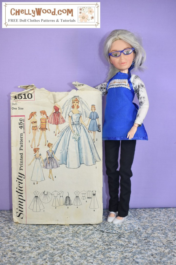 Here we see the Chelly Wood doll (a Spin Master Liv doll that has been re-made to look like the doll clothing designer, YouTuber, and writer, Chelly Wood) holding up Simplicity doll clothes pattern 4510.