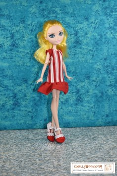 """Click on the link in the caption to navigate to the page where you can find free printable PDF sewing patterns for making this """"Peppermint Candy"""" dress and the Mary Jane shoes shown on this Ever After High doll. These patterns and tutorial videos are available through ChellyWood.com, a website best known for its free printable doll clothes sewing patterns and tutorial videos."""