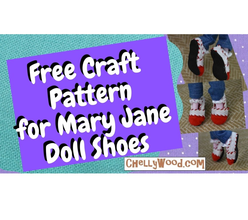 The image shows a pair of Mary Jane style shoes on the feet of a Draculaura Monster HIgh doll. If you'd like to make these shoes, there's a DIY tutorial on ChellyWood.com along with a free printable PDF pattern for making these doll shoes, which will fit Kuu Kuu Harajuku dolls, Monster High dolls, Ever After High dolls, and Moana 10 inch dolls.