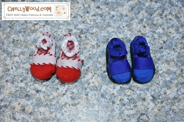 The image shows a pair of Mary Jane -style shoes. There's a pair in Christmas red and white with a gingham lining in the sole of the shoe, and there's a pair in royal blue with a royal blue lining in the sole of the shoes. If you'd like the free printable PDF patterns for making these Maryjane shoes for your dolls, please click on the link in the caption. These Mary Jane shoes will fit dolls with foot measurements of 4 cm long by 2 cm wide or slightly smaller. I have found that the pattern works for Monster High dolls, Ever After High dolls, Moana 10 inch dolls, and DC Superhero girls dolls.