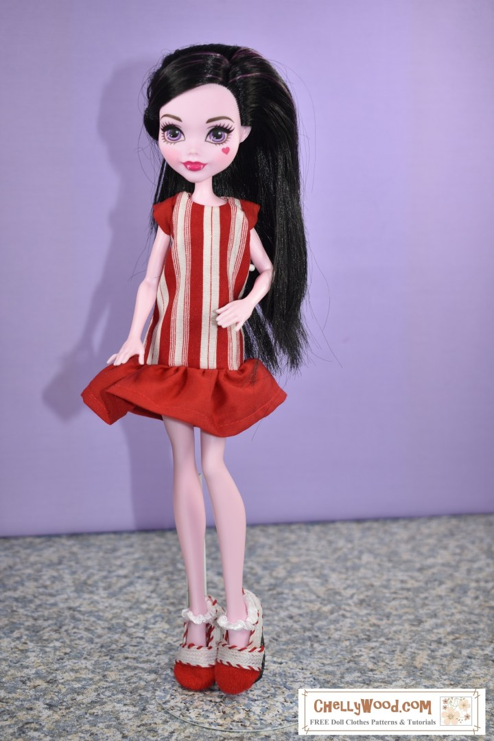 "Would you like to make this ""Peppermint Candy"" dress for your Monster High (or similar-sized) dolls? Click on the link in the caption, and it will take you to the page where you can easily download and print this doll clothes sewing pattern, which includes the dress pattern for this ""Peppermint Candy"" dress with cap sleeves and a ruffle skirt and the Mary Jane style shoes worn by the Draculaura doll shown in the image."