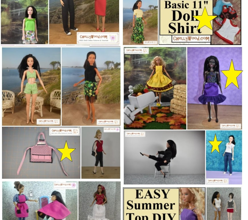 This image is a screenshot of the Barbie gallery page, showing all the sewing patterns Chelly Wood has designed to fit just the Mattel Made-to-Move and regular Barbie dolls. There are probably close to 50 outfits pictured here. Some are marked with a star, and all of these photos represent free patterns found on the ChellyWood.com website of free patterns. To learn more about what the star means (it appears on a small portion of the photos) please visit ChellyWood.com and search for Chelly's New Year's goals for 2021. The article that accompanies this image celebrates Chelly Wood's accomplishments at creating a library of free doll clothes sewing patterns, but it also helps her set her New Year's resolution to convert JPG patterns to PDFs for easier downloads for all who frequent this website.
