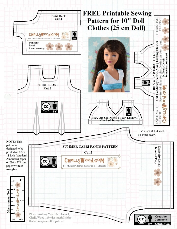 This is a JPG image of a free printable PDF sewing pattern for making doll clothes to fit 10 inch dolls like Skipper, Creatable World dolls, Momoko doll, project MC2 dolls, and similar-sized dolls. The free doll clothes sewing pattern includes a training bra or swimsuit top, a pair of capri pants or ankle pants, and a summer shirt or tank top pattern. For more free printable doll clothes sewing patterns for making dolls' clothes to fit dolls of many shapes and all different sizes, please visit my website, ChellyWood.com