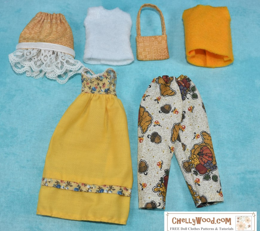 Laid out on a pale blue canvas, we see items of doll clothes in a gold-and-white color ensemble. This wardrobe will fit Sunshine Family female parent dolls, and it consists of a skirt, a pair of pants, two felt shirts, a purse, and one vintage dress. All but the dress are handmade doll clothes designed and sewn by Chelly Wood.
