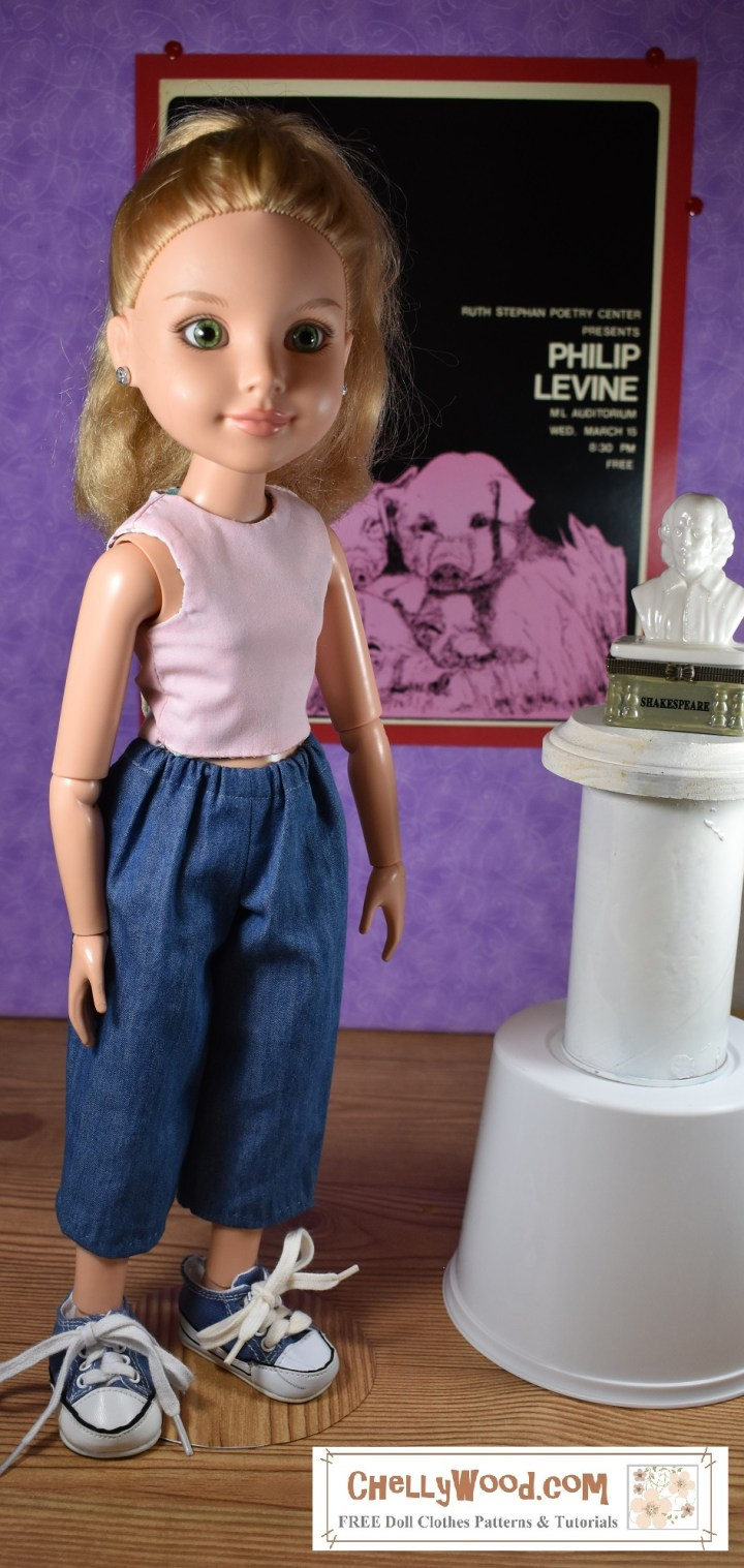 The image shows a BFC Ink articulated doll wearing a reversible sleeveless shirt and a pair of denim capri pants. Would you like to make these doll clothes for your BFC Ink doll (or a similar-sized doll)? Click on the link in the caption and it will redirect you to the page where these free printable doll clothes patterns can be found.