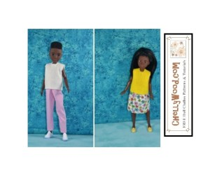 The image shows two of the complete doll clothes outfits that are shown in Chelly Wood's gallery of free printable PDF sewing patterns that will fit Creatable World 10 inch dolls from Mattel. To download these free printable sewing patterns for dolls' clothes, visit ChellyWood.com