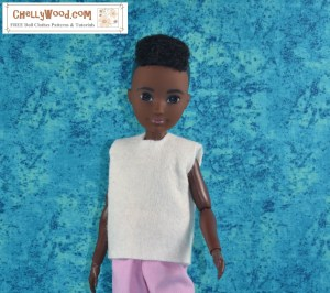 This image is a close-up of the African American Creatable World doll with her short haircut, wearing the handmade sleeveless shirt (patterns for this shirt and other doll clothes are found at ChellyWood.com).