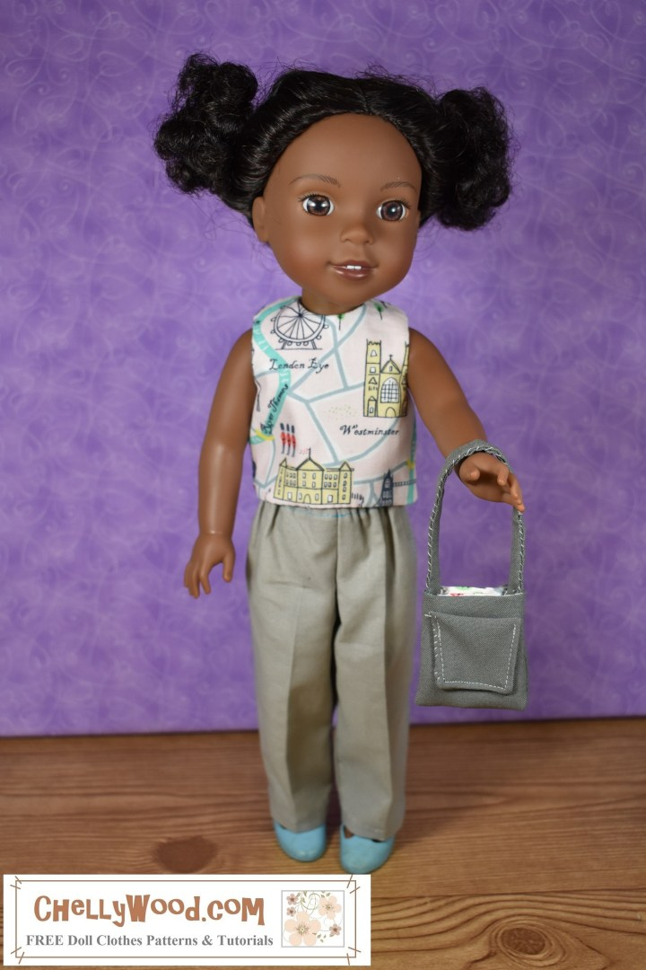The image shows a Wellie Wisher in a reversible sleeveless shirt, a pair of Khaki pants, and the doll also holds a handmade purse with a pocket. Would you like to make these doll clothes for your Wellie Wisher doll (or a similar-sized doll)? Click on the link in the caption and it will redirect you to the page where these free printable doll clothes patterns can be found.
