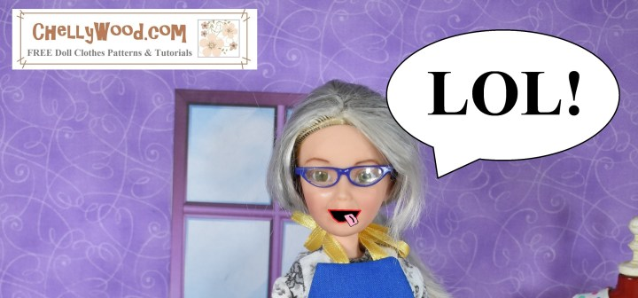 The image shows the ChellyWood doll with a humorous face. Her tongue is sticking out, and she wears a huge smile. There's a dialog bubble above her head that says L O L with an exclamation point.