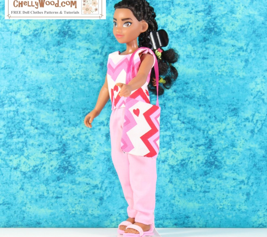 The image shows a Disney 10 inch Moana doll wearing handmade doll clothes. The sleeveless shirt has a background color of white (cotton) with a zigzag pattern overlaid in different shades of pink plus bright red. The purse Moana carries uses the same fabric, and its zigzag pattern goes up-and-down, contrasting the side-to-side zigzag pattern on the sleeveless top. She wears a pair of pink sandals and pink pants that coordinate nicely with the whole ensemble. The watermark reminds us to visit ChellyWood.com for free printable sewing patterns for making doll clothes to fit dolls of many shapes and all different sizes.